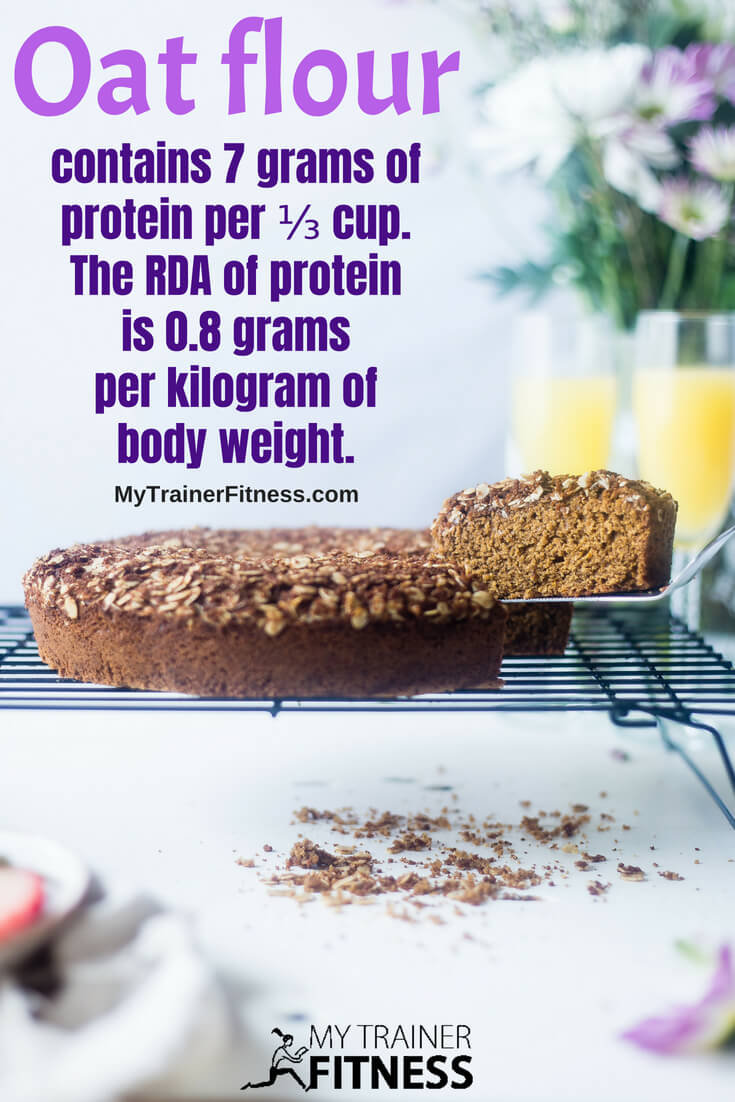Oats have higher protein content than most grains. That combined with the resistant starch and high fiber, has contributed to oats being categorized as a health food. Oat flour contains 7 grams of protein per ⅓ cup. That's approximately 14% RDA of a 135 lb active female and 10% of a 185 lb active male. The recommended daily allowance of protein is 0.8 grams per kilogram of body weight. #health #food #glutenfree