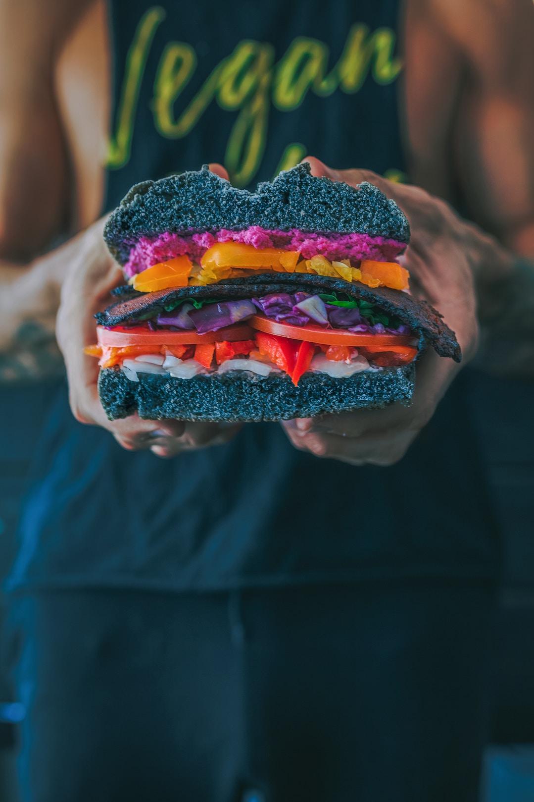 Food art, vegan-sandwich, creative cooking
